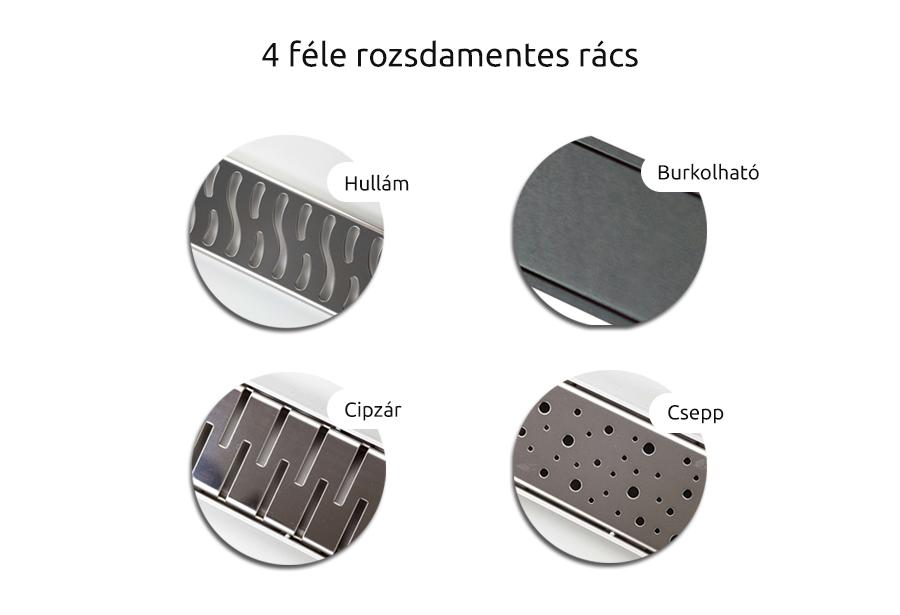 Zuhanyfolyóka 4 féle rozsdamentes rácstípussal