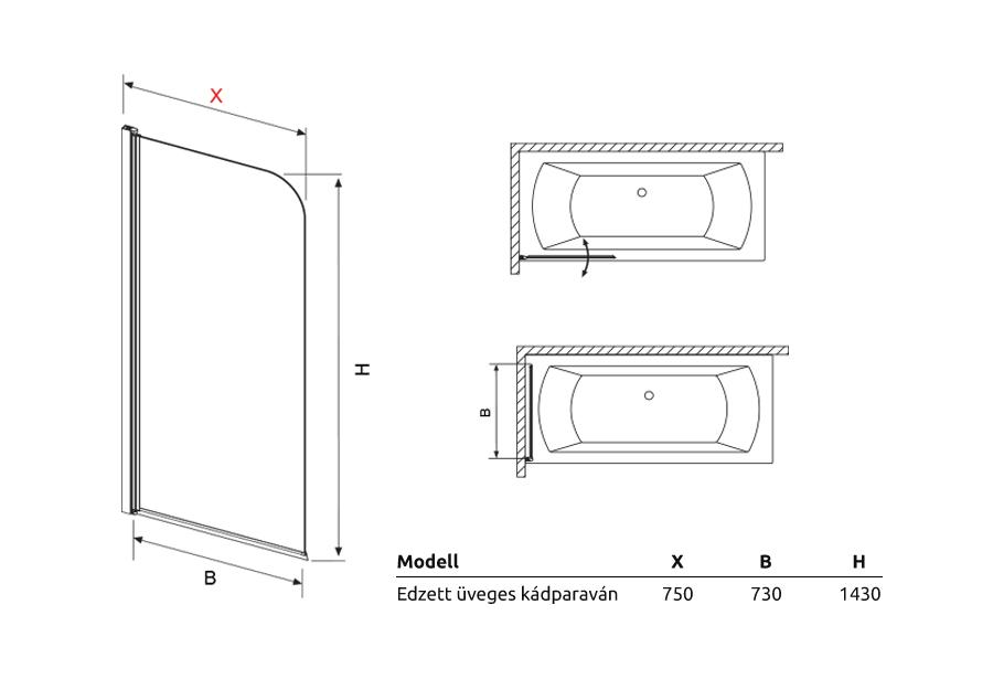 Edzett üveges kádparaván műszaki rajz
