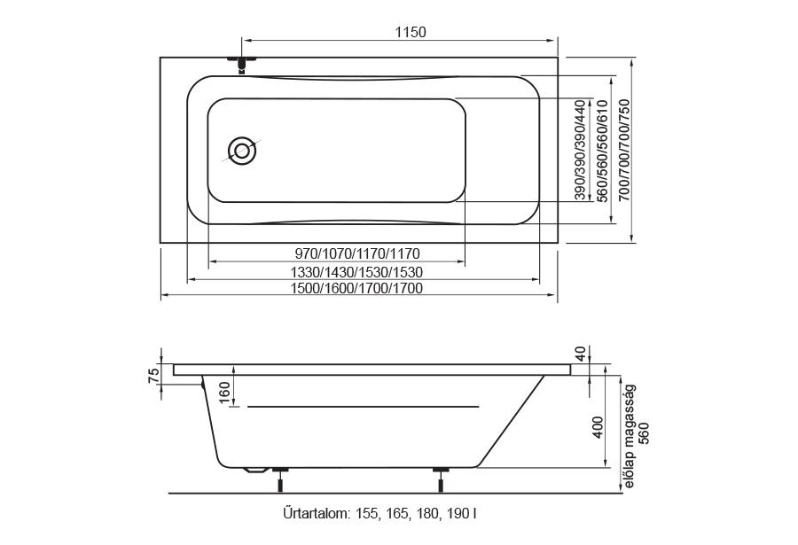 Danuta fürdőkád technikai rajz