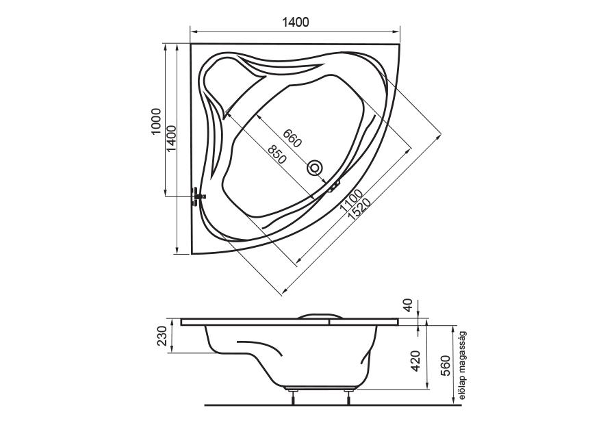 Emily fürdőkád technikai rajz