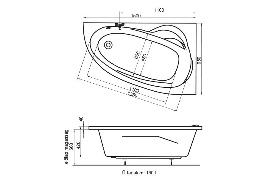 Kitty fürdőkád technikai rajz
