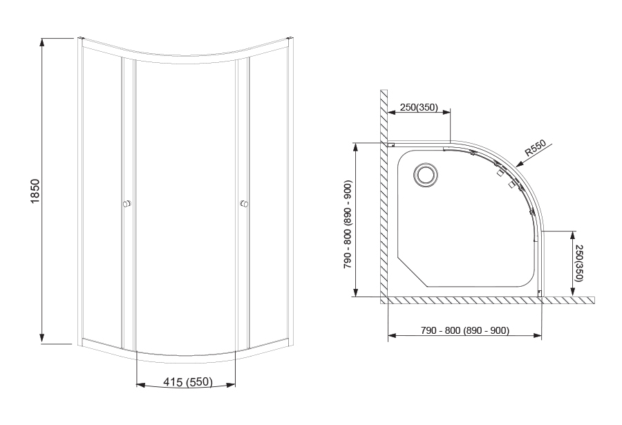 Projecta íves zuhanykabin technikai rajz