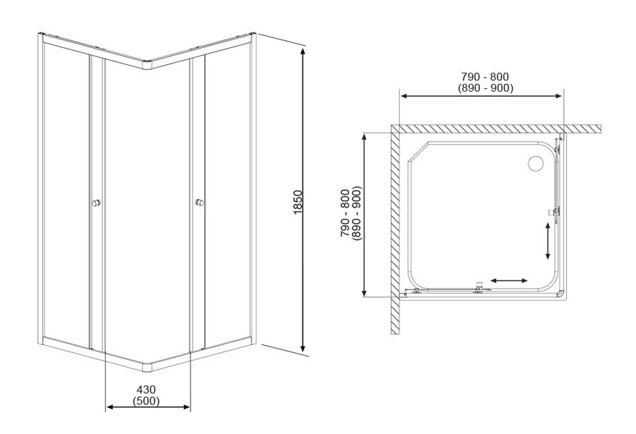 Projecta szögletes zuhanykabin technikai rajz