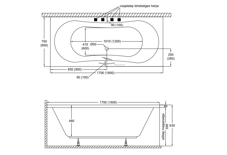 Nelly New fürdőkád műszaki rajz